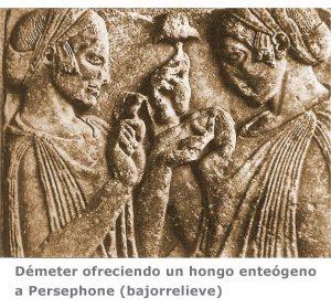 Demeter ofreciendo un hongo enteógeno o psicodélico a Persephone