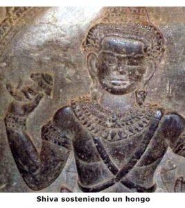 El dios Shiva sosteniendo un hongo sagrado